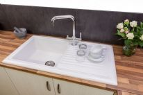 Reginox White Ceramic Reversible Sink - 1 Bowl